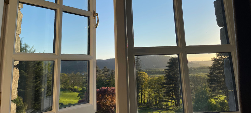 View from the bedroom window at Ravenstone Manor of Skiddaw and Lake Bassenthwaite