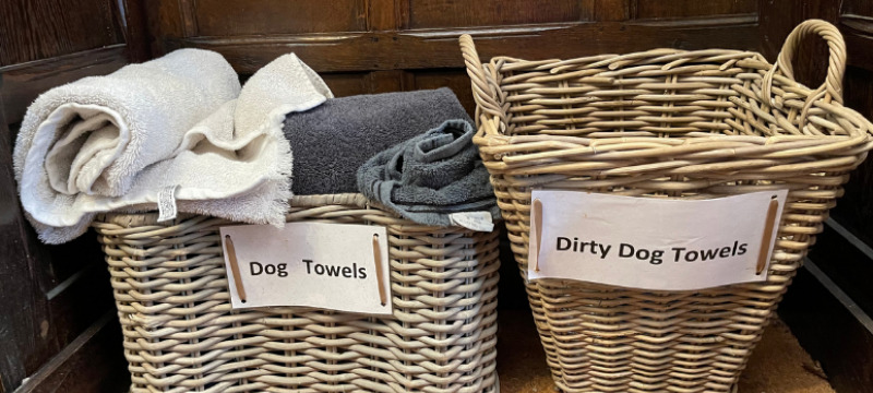 Dog towels at Ravenstone Manor